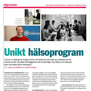 """""""Unikt hälsoprogram"""" skriver tidningen AffärsStaden om Linkura"""